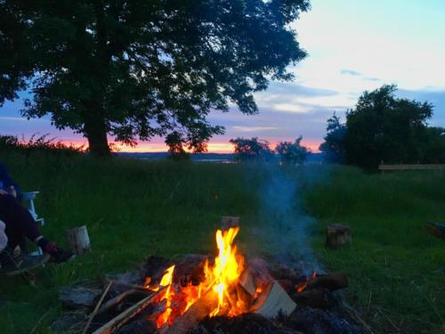Yoga retreat bonfire